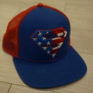 Superman themed trucker hat